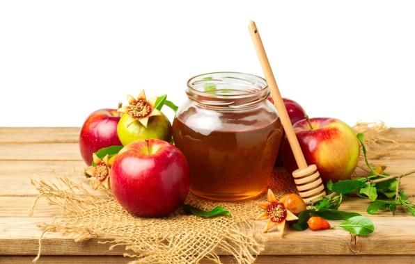 Баночка меда и яблоки фото