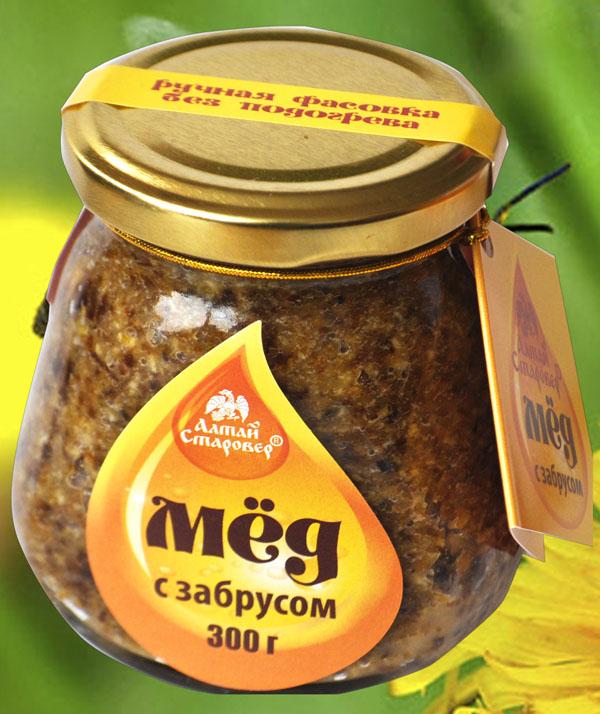 Фото баночки меда с забрусом