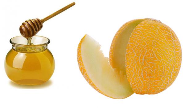 Фото баночки с медом и разрезанной дыни