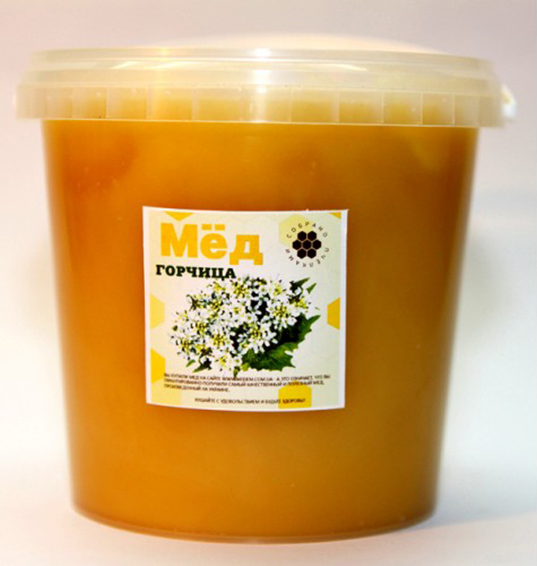 Фото горчичного меда в пластиковом ведерке