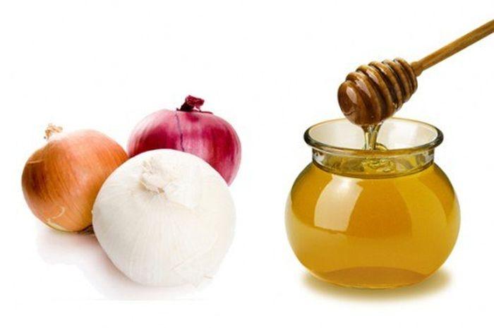 Фото лука и меда - основных ингредиентов
