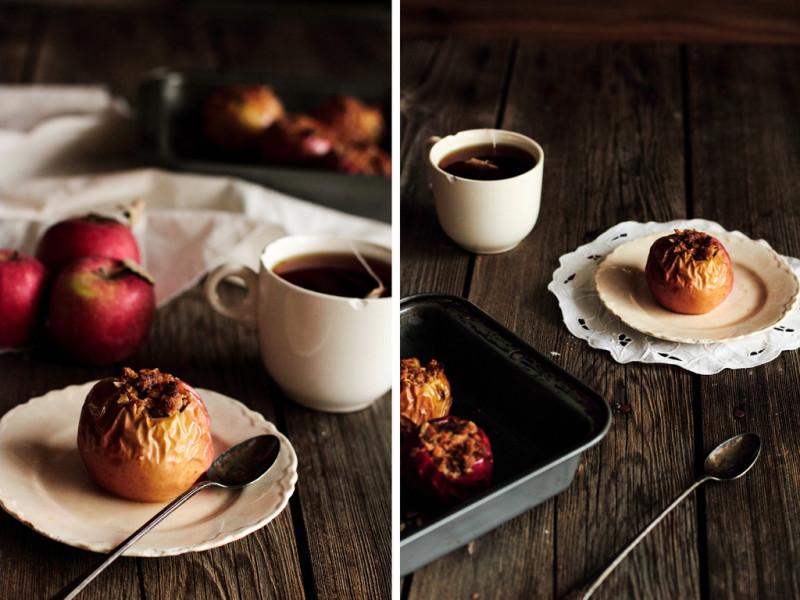 Яблоко на блюдце, ложка и чашка