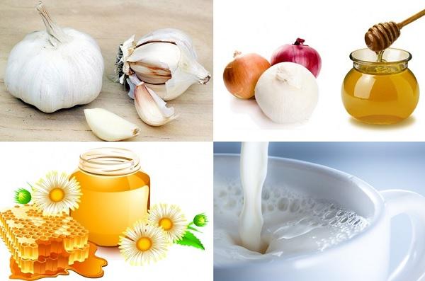 Коллаж с медом, молоком, луком и чесноком