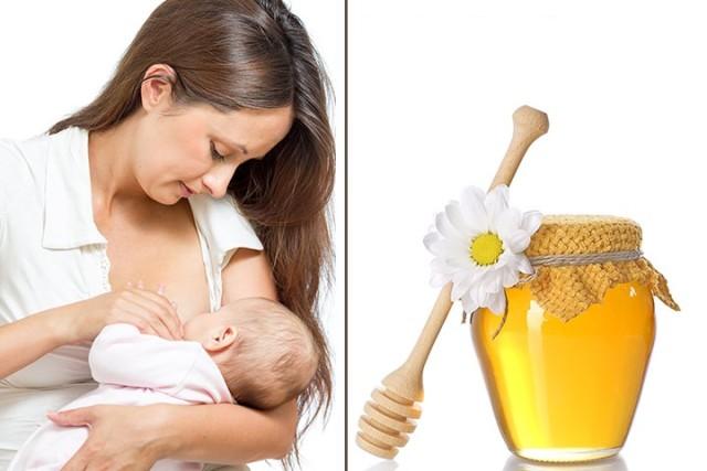 Коллаж грудного вскармливания и баночки меда