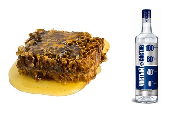 Спирт и пчелопродукт на белом фоне