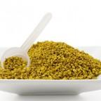 Пчелиная пыльца в тарелке на белом фоне