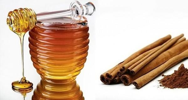 Емкость с жидким медом и корица на белом фоне