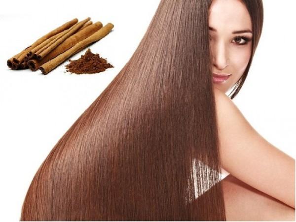 Женщина с красивыми волосами и корица
