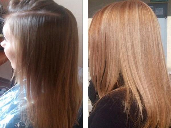 До и после осветления маской с корицей и медом