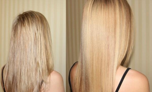 Волосы до и после использования меда