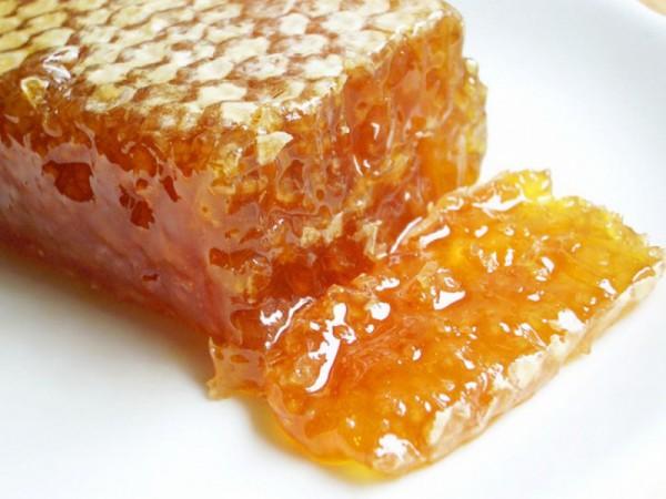 Соты с медом крупным планом